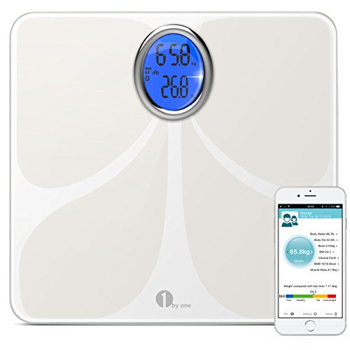 1byone Digital Bluetooth Body Fat Scale with Phone and