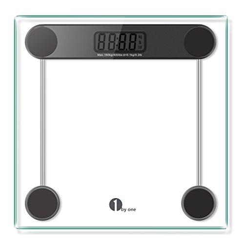 1byone Digital Body Weight Bathroom Scale with Step-on Technology