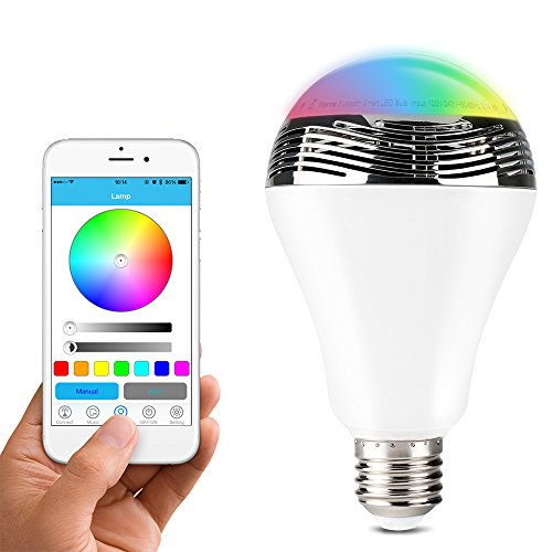 1byone Wireless Bluetooth 4.0 Speaker Dimmable Multicolored LED Light