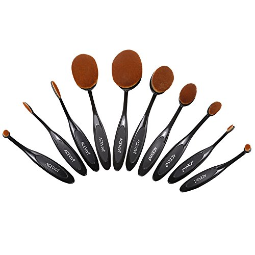 ACEVIVI 10 Pcs Oval Toothbrush Makeup Brush Toothbrush Super