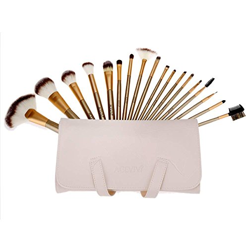 ACEVIVI 18pcs Professional Wooden Handle Cosmetic Makeup Brush Set