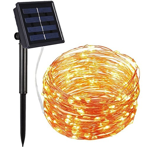 Amir Solar Powered String Lights, 100 LED Copper Wire