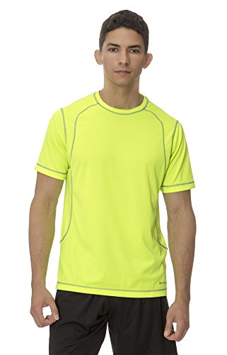 (AT2004) AeroskinDry Mens Mesh Training Tee in Yellow Fluo