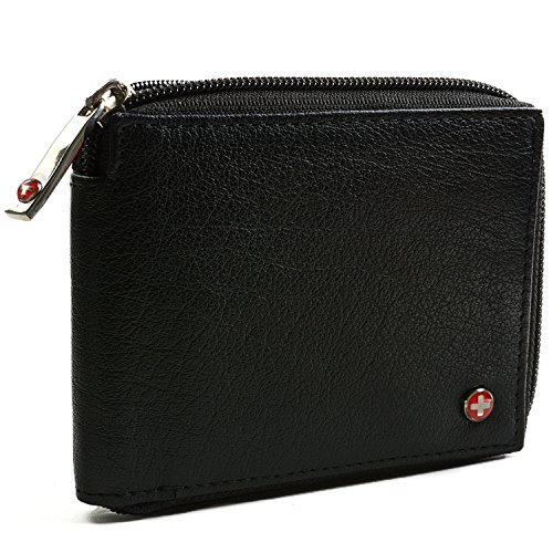 $24.99 Alpine Swiss Zippered Bifold Men's Wallet with Deluxe Credit