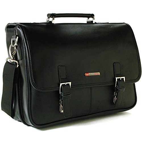 $62.99 Alpine Swiss Hunter Leather Briefcase Dressy Flap-Over Buckle Computer