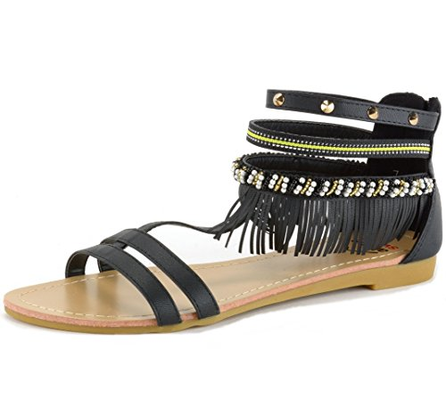 Alpine Swiss Womens Beaded  Studded Fringe Flat Gladiator
