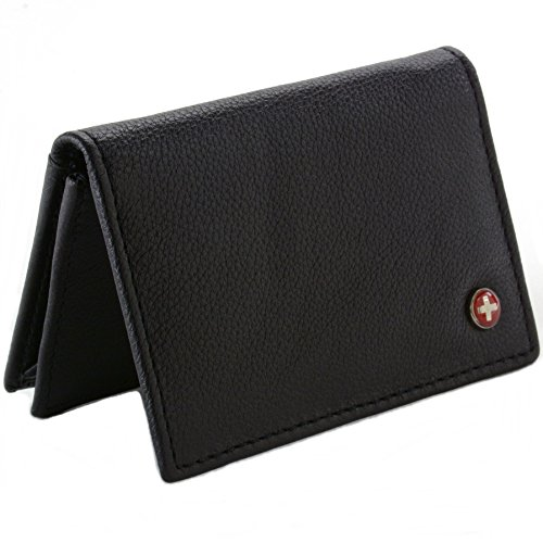RFID Blocking Men's Leather Expandable Card Case Black -