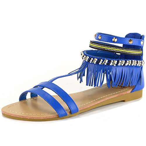 $24.99 Alpine Swiss Womens Beaded  Studded Fringe Flat Gladiator