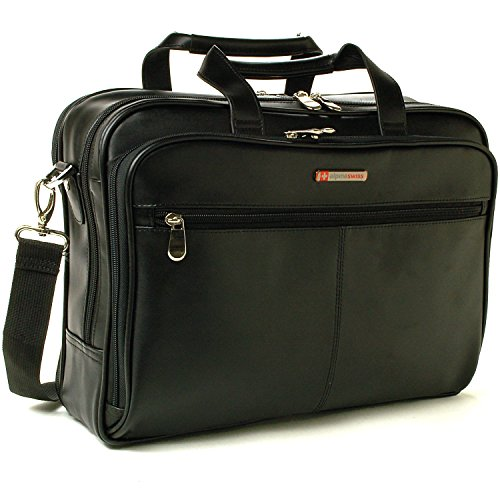 $69.99 Alpine Swiss Monroe Leather Briefcase Top-Zip Laptop Messenger Bag