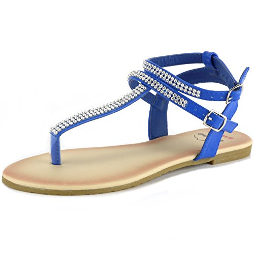 Alpine Swiss Womens Blue Slingback T-Strap Rhinestone Thong Sandals