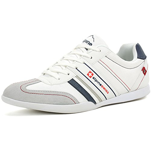 $29.99 Alpine Swiss Mens Ivan White Suede Trim Retro Tennis