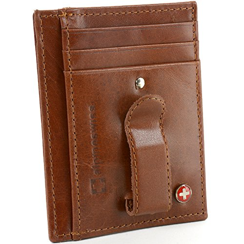 $19.95 Alpine Swiss Men's RFID Blocking Wallet, Brown, One Size