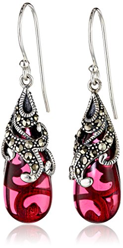$35.47 Sterling Silver Marcasite and Red Glass Teardrop Earrings