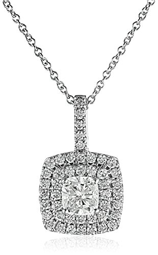 $2341.00 14k White Gold Cushion Diamond Halo Pendant Necklace (1