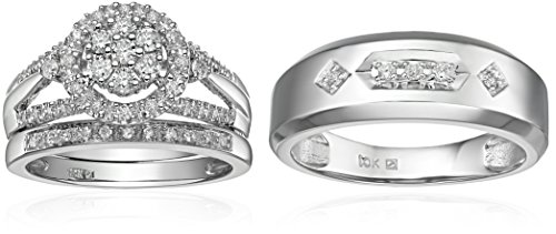 $879.34 10k White Gold Diamond Trio Wedding Ring Set (1/2cttw,