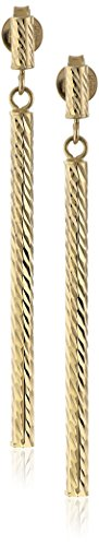 $95.43 14k Yellow Gold Italian Polished and Diamond-Cut Linear Drop
