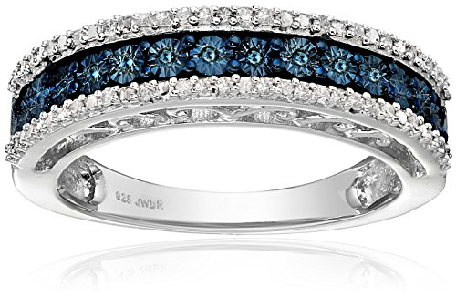 $69.99 Sterling Silver Blue and White Diamond Anniversary Ring (1/10