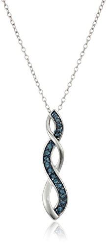 $16.83 Sterling Silver Montana Blue Swarovski Elements Crystal Twisted-Pendant Necklace