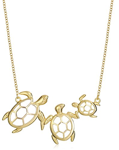 18k Yellow Gold Plated Sterling Silver Turtle Family Necklace