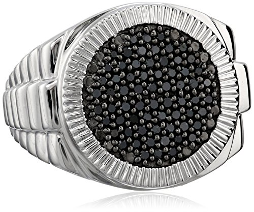 $155.76 Men's Sterling Silver and Black Diamond Ring (1/2 cttw)