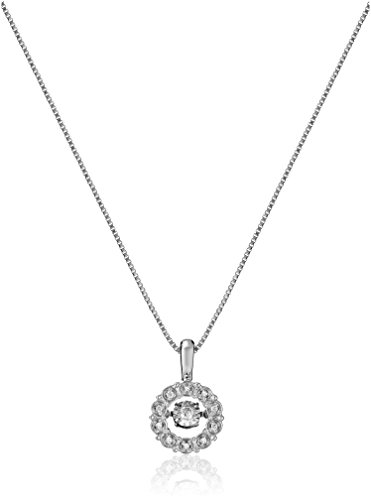 $109.66 Sterling Silver Dancing Diamond Accent Circle Pendant Necklace