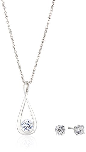 $31.69 Sterling Silver and Cubic Zirconia Infinity Necklace and Earrings