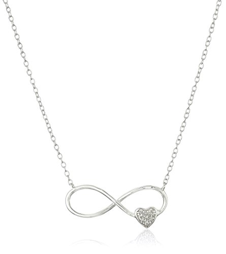 $15.41 Sterling Silver Cubic Zirconia Infinity Heart Necklace, 18″