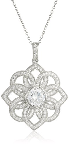 $30.33 Rhodium Plated Sterling Silver Round Cubic Zirconia 8mm Floral