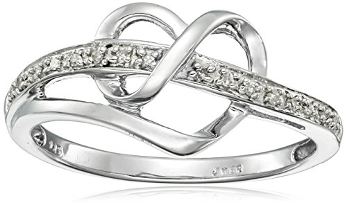 $33.77 Sterling Silver Diamond Heart Ring (1/20 cttw), Size 8