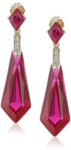 $134.48 10k Yellow Gold Special-Cut Created Ruby and Diamond Drop