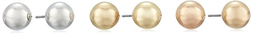 $18.00 Silver, Yellow, and Rose-Tone Ball Stud Earrings Three-Piece Set