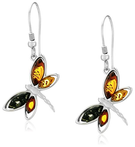 $36.42 Sterling Silver Multi-Color Amber Butterfly Drop Earrings