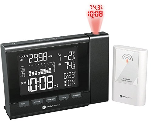 Ambient Weather WS-8400 Projection Clock with Indoor and Outdoor