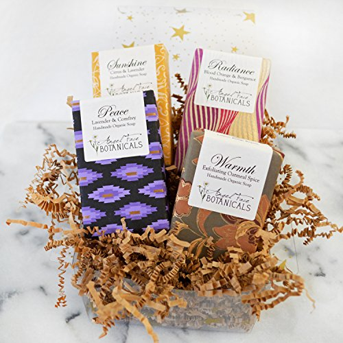 Organic Soap Gift Set - 4 Full-Size Bars: Lavender