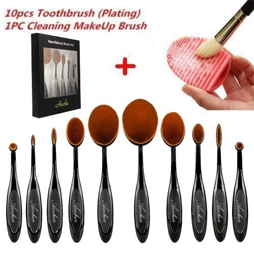 Makeup brushes , Aoohe Kabuki Oval Toothbrush Contour Makeup