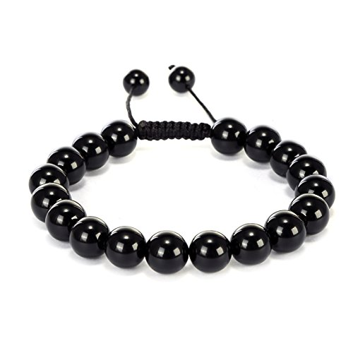 BRCbeads Gemstone Bracelets Black Onyx Enhance Color Birthstone Healing