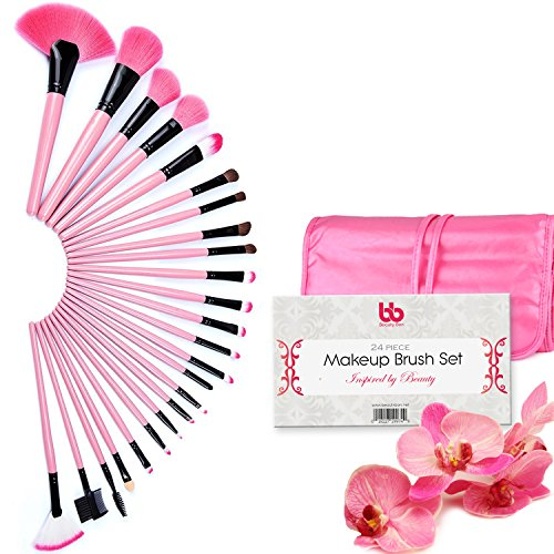Professional Makeup Brushes, 24 Piece Set, Pink, Vegan, with