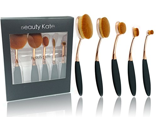 BeautyKate 5 Pcs Oval Makeup Brushes Set Toothbrush Face