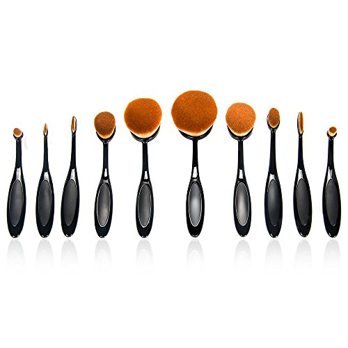 Bestidy Professional 10 Pcs Soft Oval Toothbrush Makeup Brush