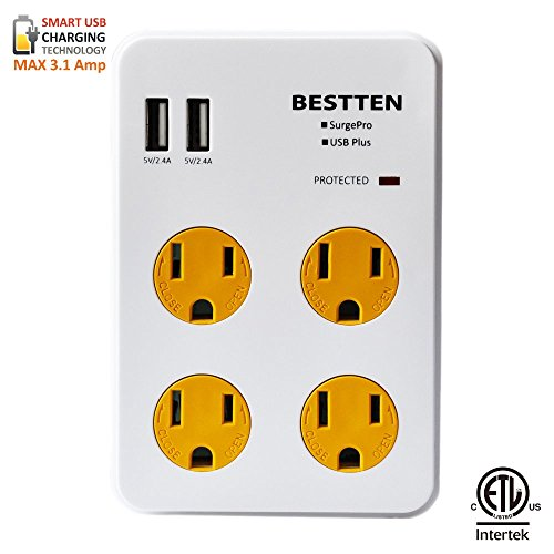 Bestten 4 Outlet Wall Mount Surge Protector with 2
