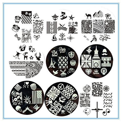 BornPretty 9Pcs BP31-33BP35-40 Nail Art Stamping Plate Stamp Template