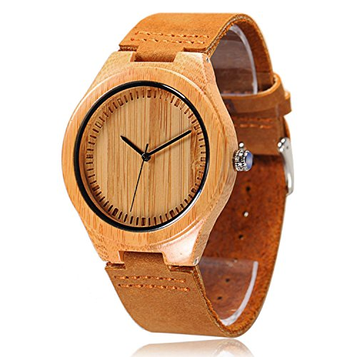 CUCOL Natural Bamboo Wooden Watch with Genuine Brown Leather