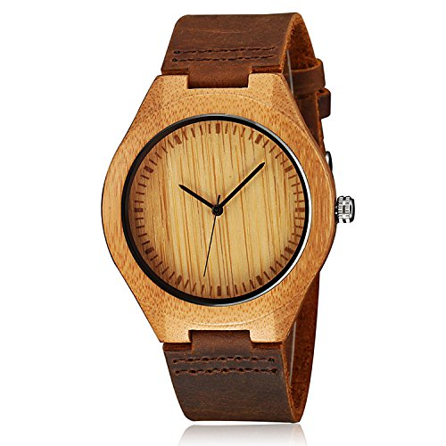 CUCOL Mens Wooden Watches Brown Cowhide Leather Strap Casual