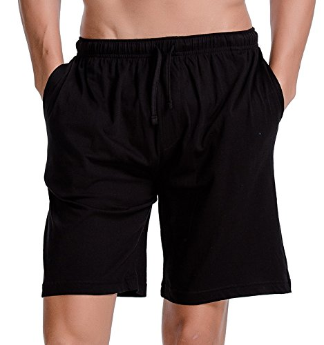 CYZ Men\'s Comfort Cotton Jersey Shorts With Pockets-Black-XL