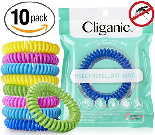 Cliganic Natural Mosquito Repellent Bracelet Waterproof - 10 Pack