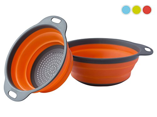 Colander Set - 2 Collapsible Colanders (Strainers) Set By