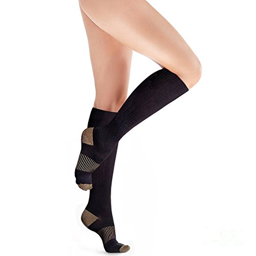 Copper Compression Knee High Recovery Support Socks, GUARANTEED Highest
