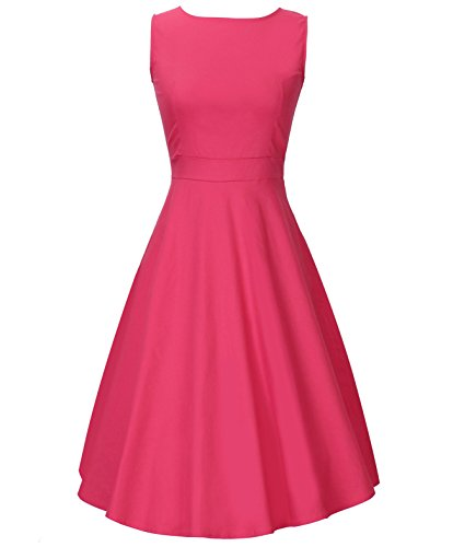Costyleen BoatNeck Sleeveless Vintage Casual Cocktail Tea Dress with