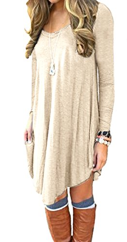 Women's Long Sleeve Casual Loose T-Shirt Dress Beige L