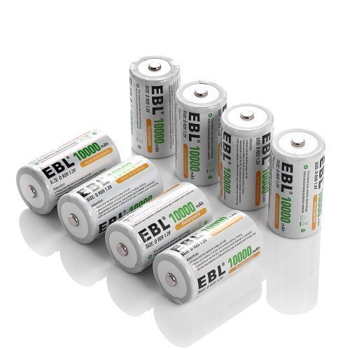 EBL 8 Pack 10,000mAh Ni-MH D Rechargeable Batteries